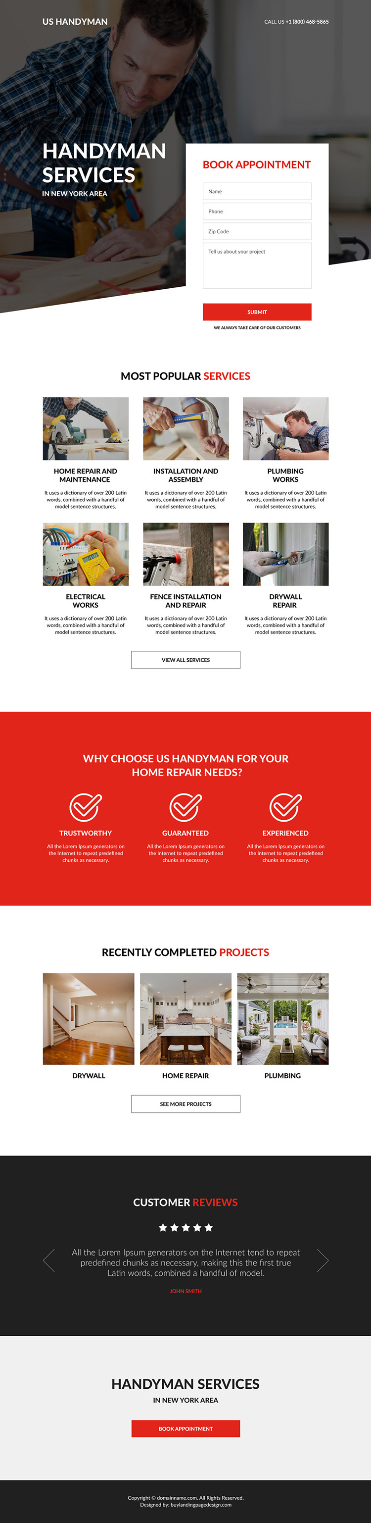handyman service appointment booking landing page design