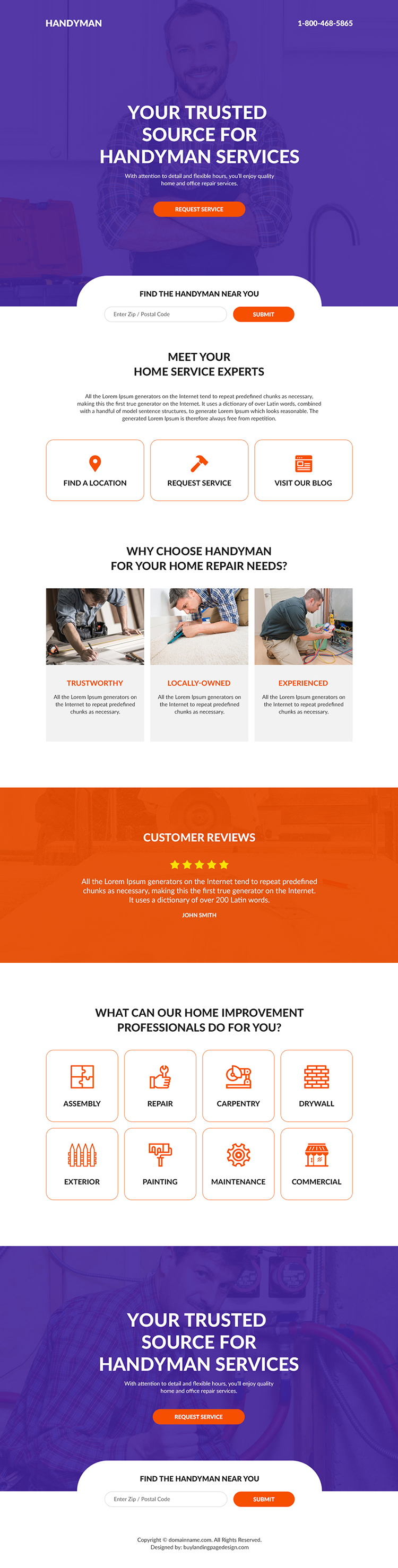 handyman services landing page design
