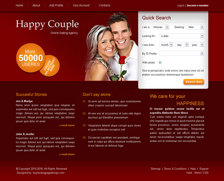 happy couple online dating website template psd for sale