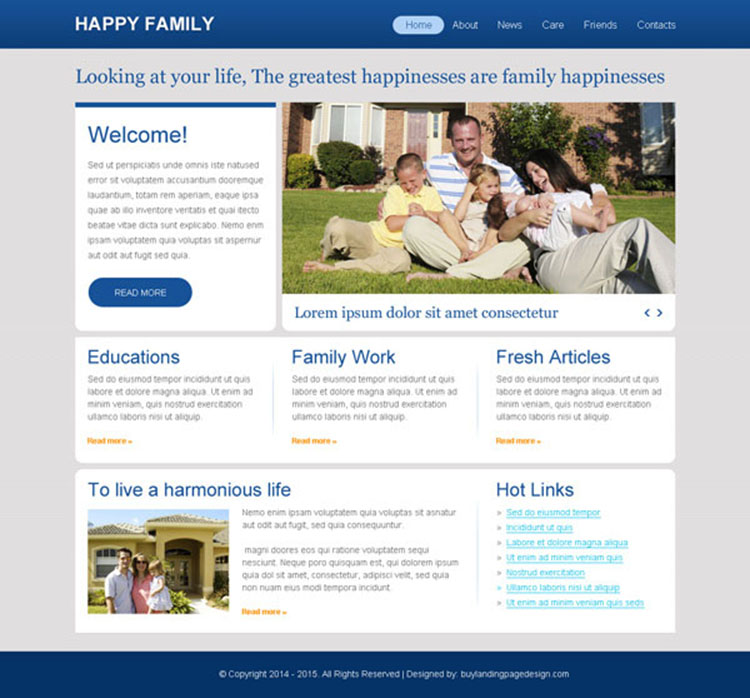 clean and minimal happy family call to action website template design psd