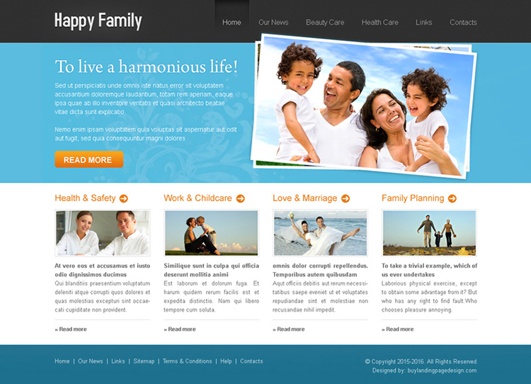 happy family online website template design psd