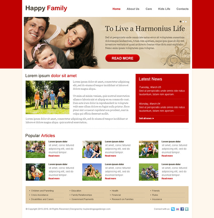 attractive happy family website template design psd