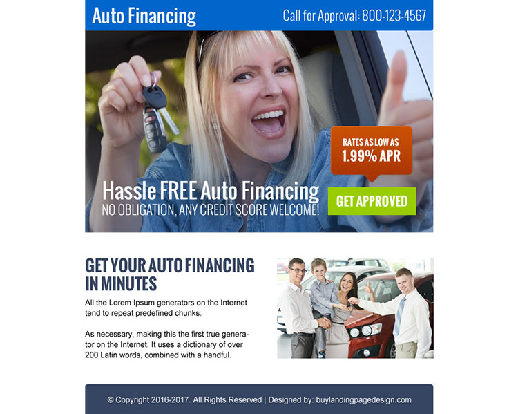 hassle free auto financing call to action ppv landing page