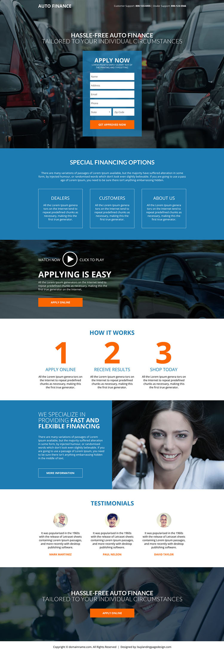 hassle free auto financing lead generating landing page design