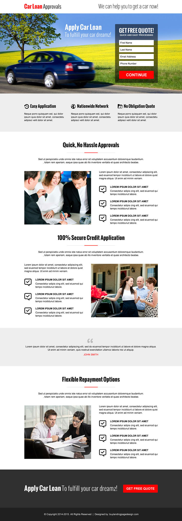 hassle free car loan approval lead capture converting responsive landing page design template