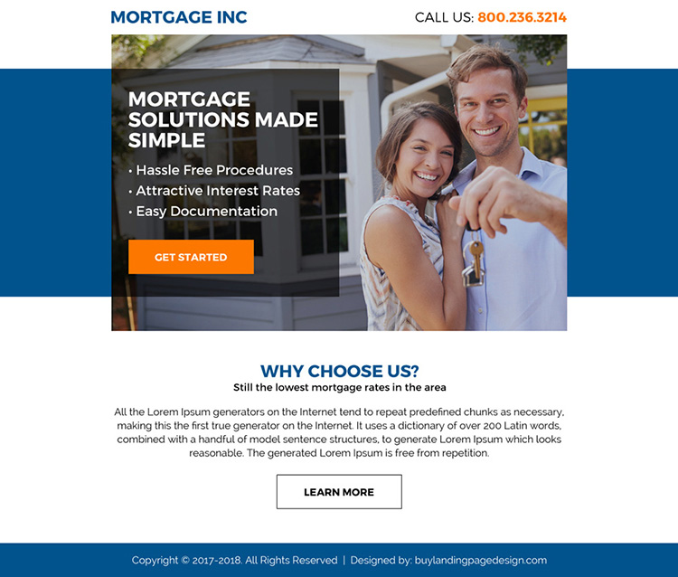 mortgage solutions clean ppv landing page design