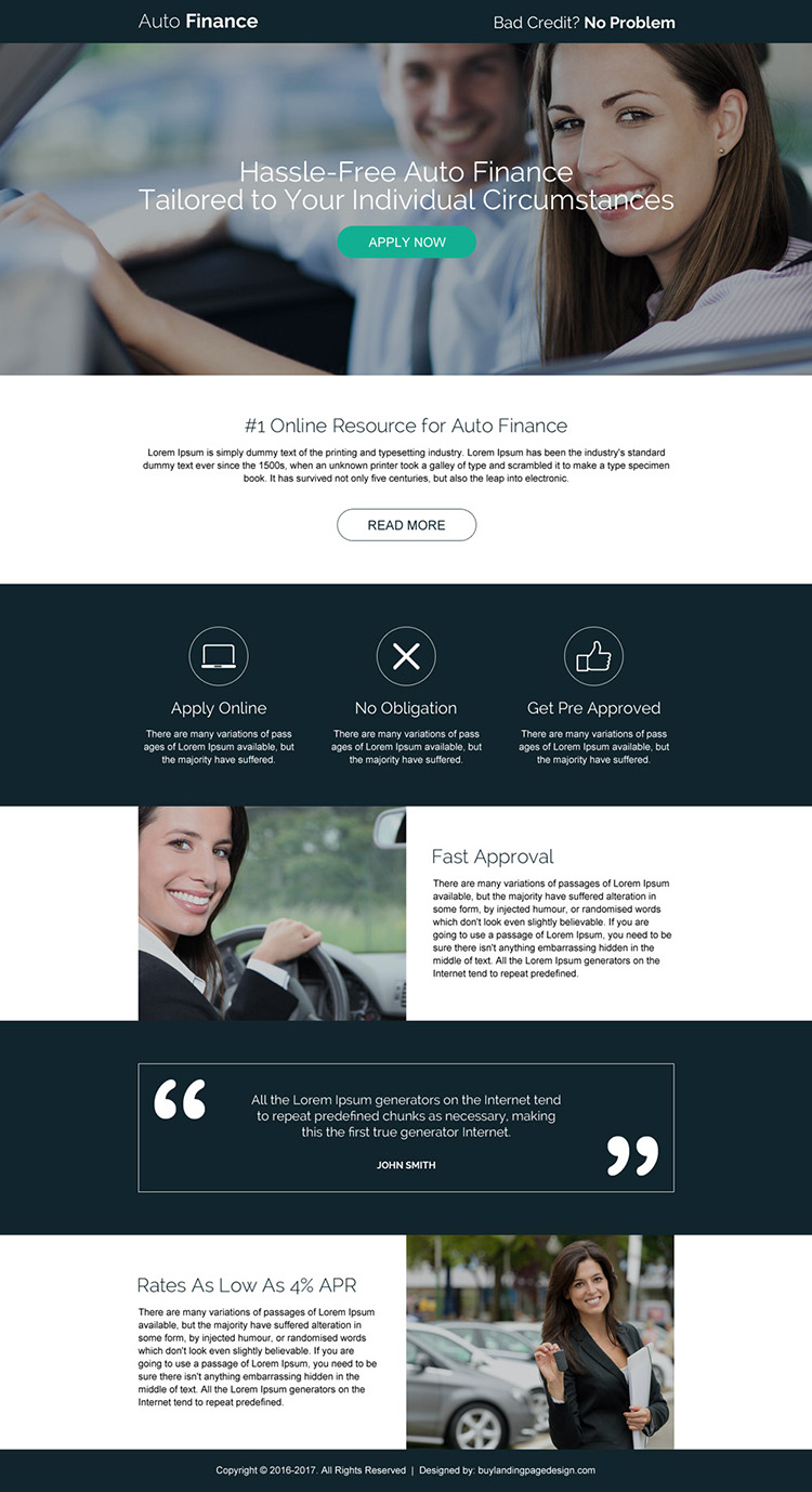 hassle free online auto finance responsive landing page design