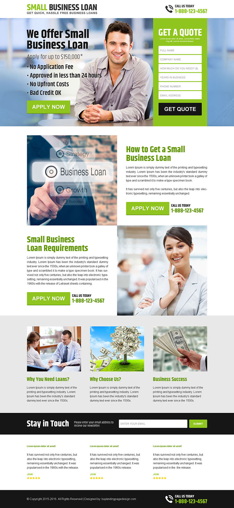 hassle free small business loan lead capturing landing page design