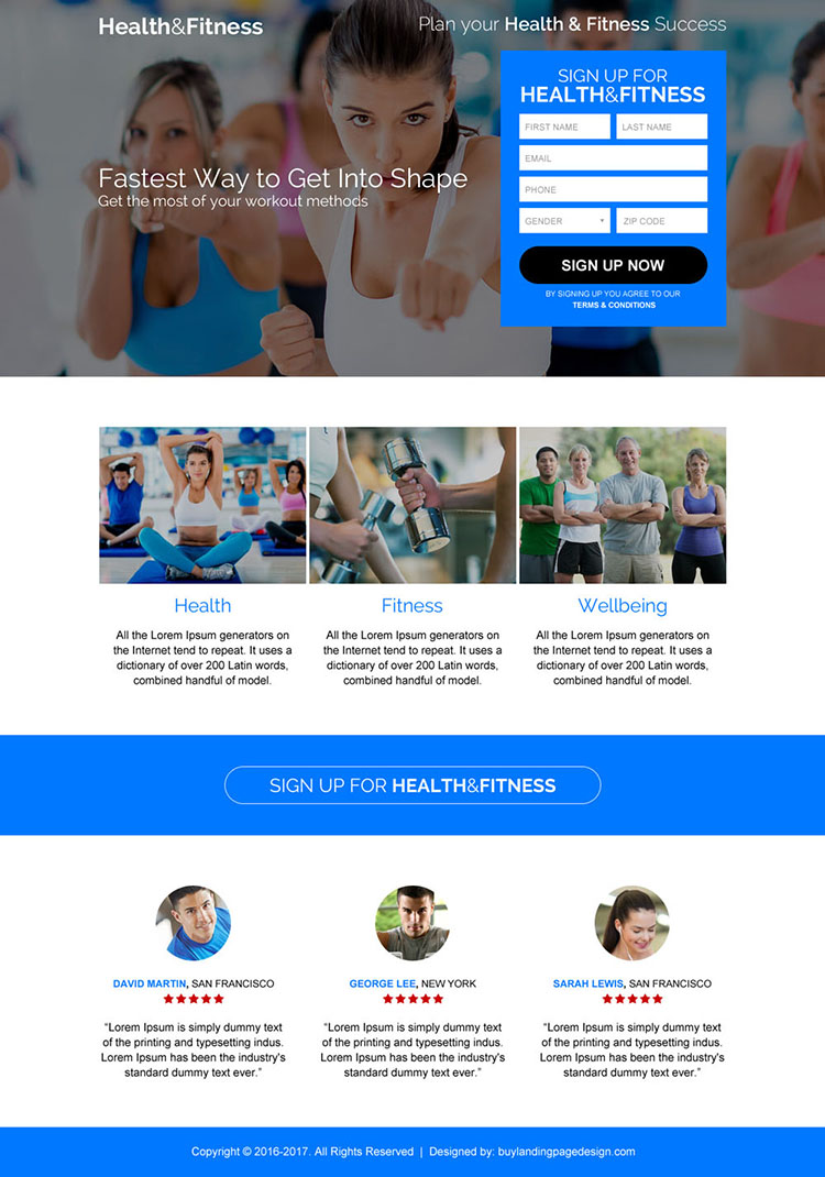 health and fitness sign up capturing landing page design