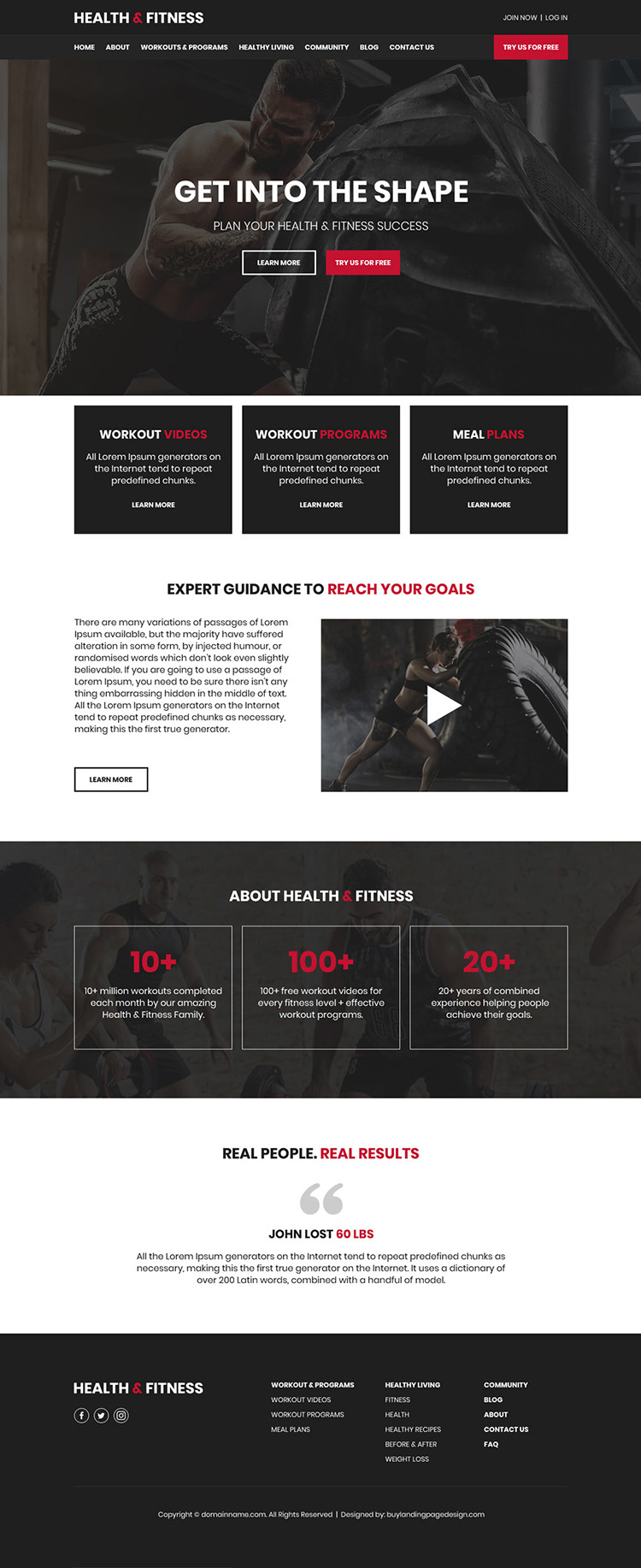 health and fitness programs responsive website design