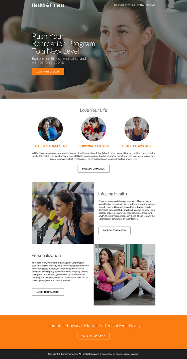 responsive health and fitness clean landing page design