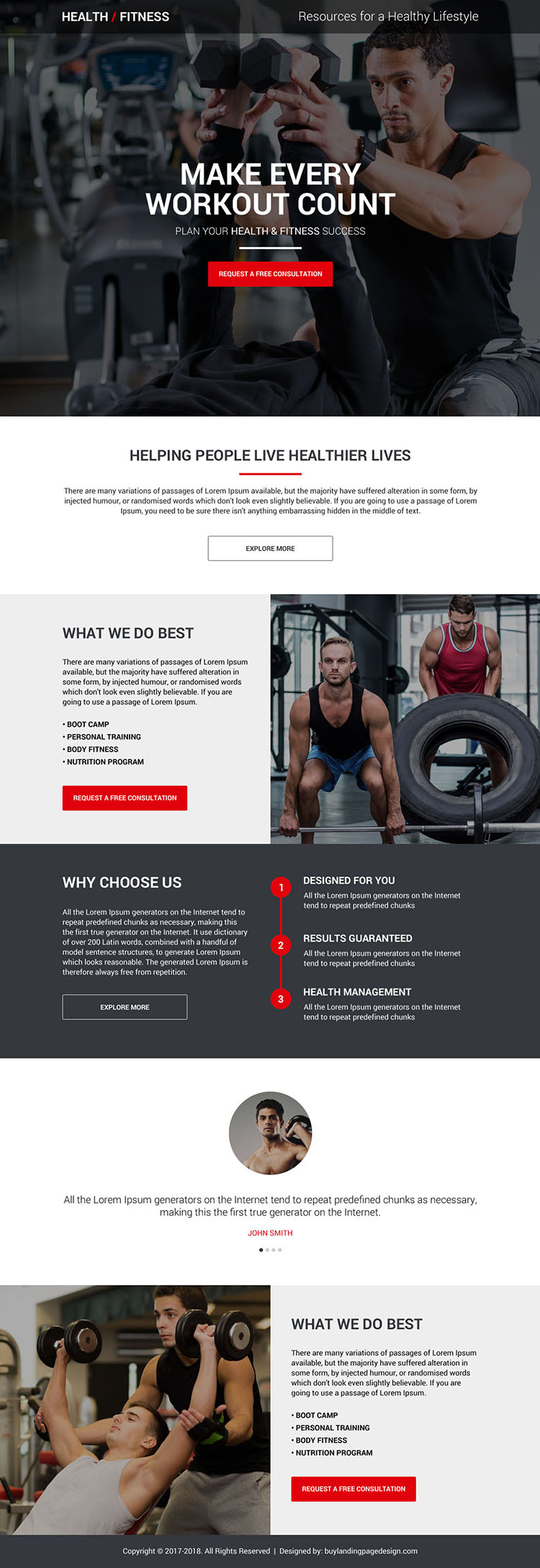 health and fitness free consultation lead capturing landing page