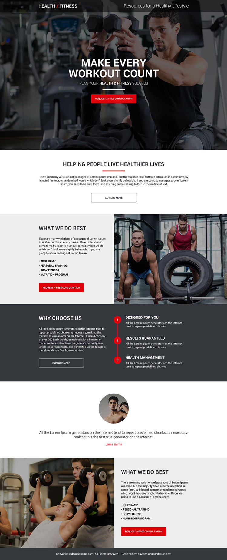 health and fitness consultation responsive landing page