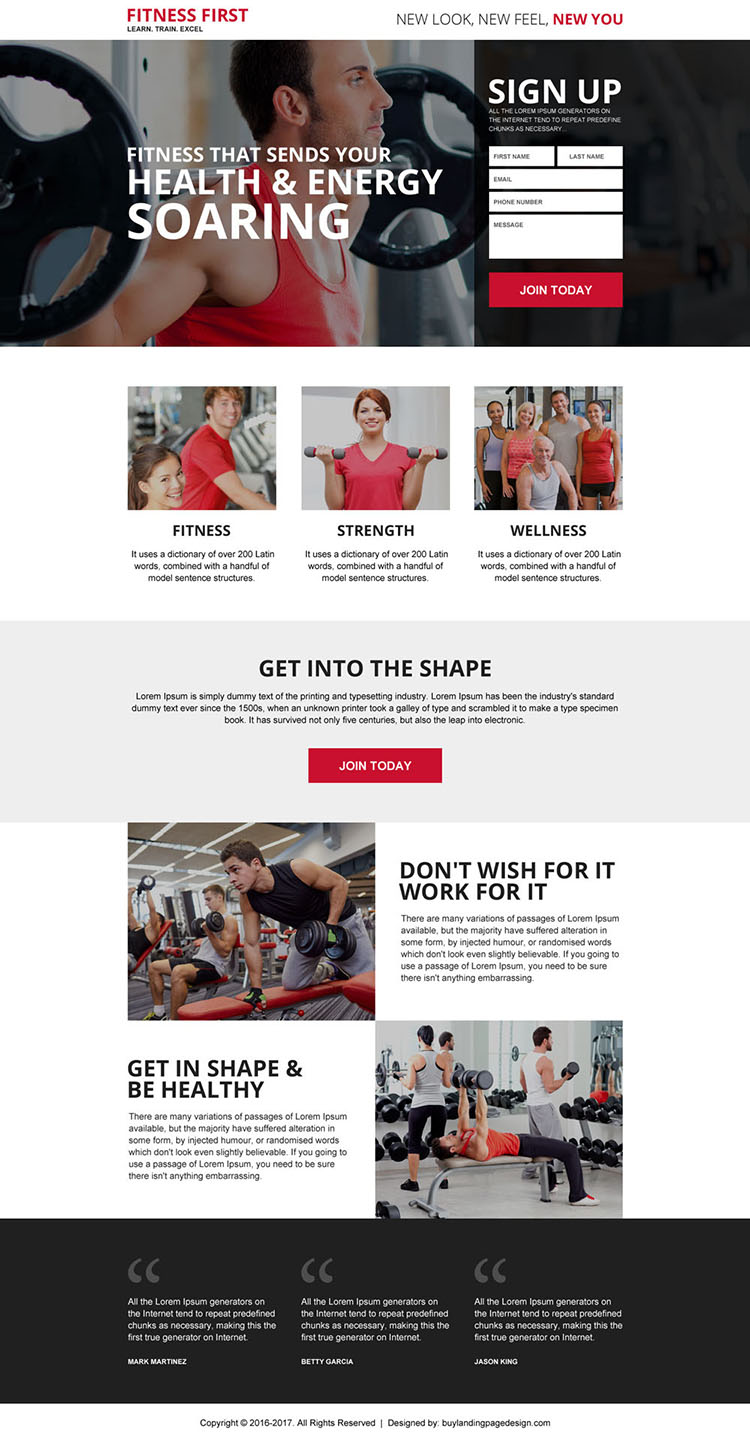 professional fitness trainer sign up generating landing page