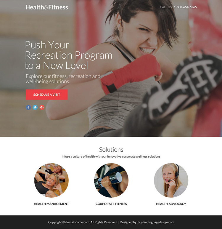 responsive health and fitness lead funnel landing page