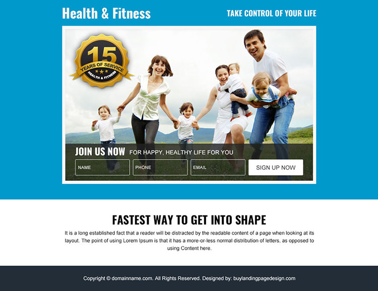 health and fitness sign up capturing PPV design