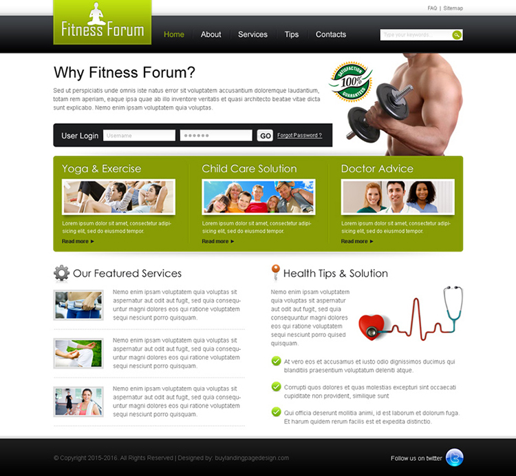 simple health and fitness website template design psd