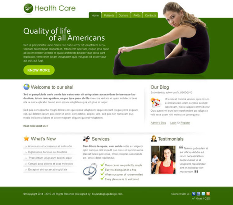 health care america informative and professional website template design psd