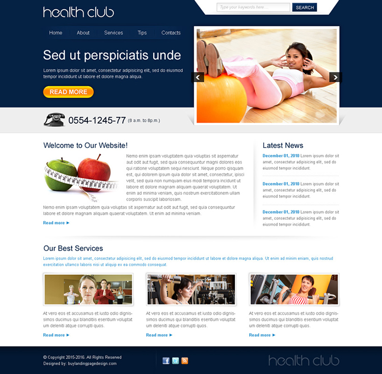 attractive health club website template design psd