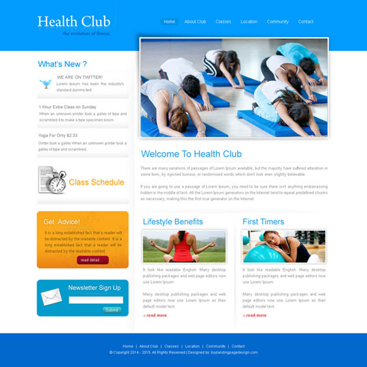 simple and clean health club website template design psd for creating your health club website