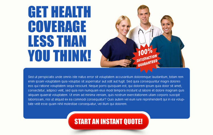 health coverage instant quote converting ppv landing page design template