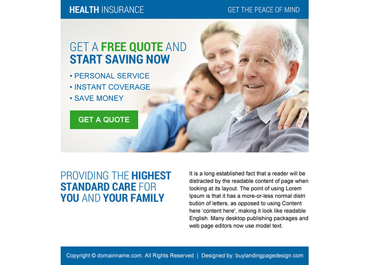 health insurance call to action ppv landing page