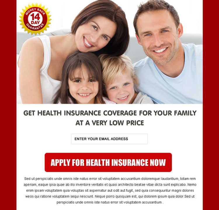 health insurance coverage for family clean and converting ppv landing page
