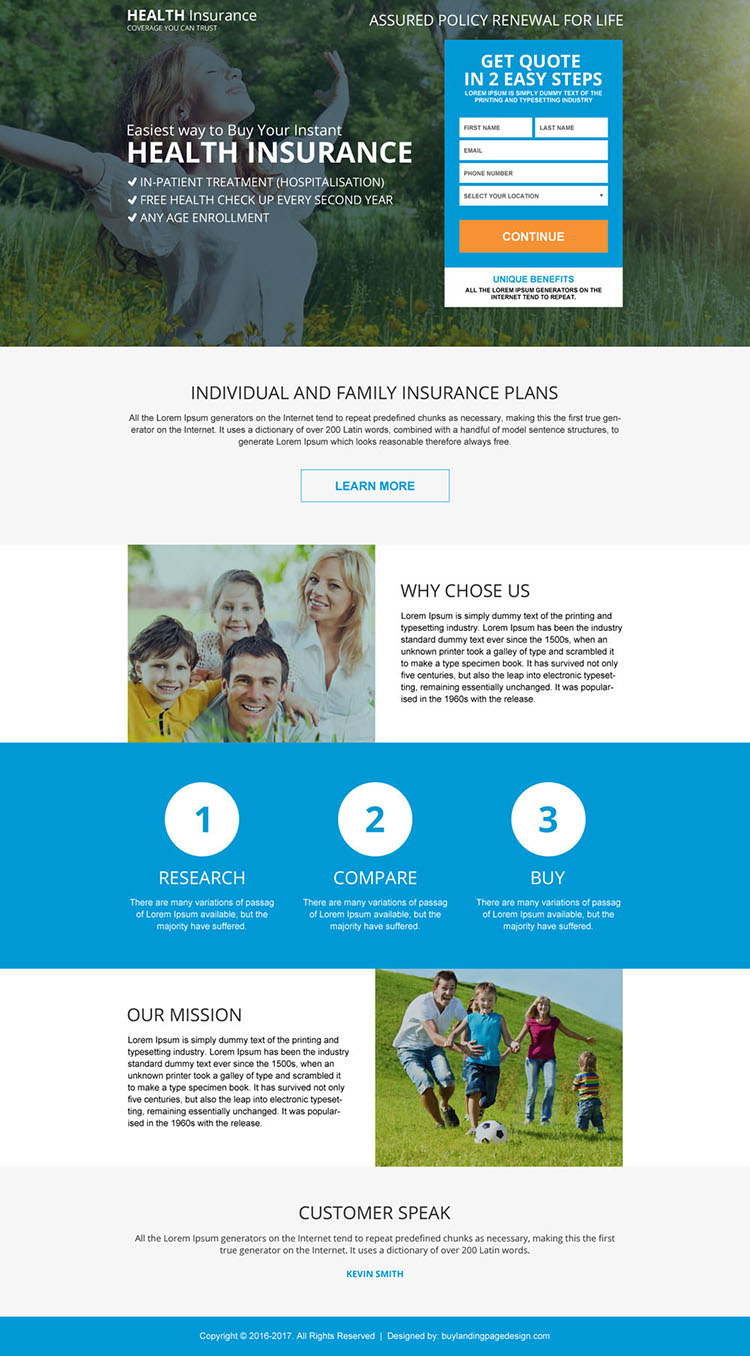 health insurance coverage benefit for full family landing page design