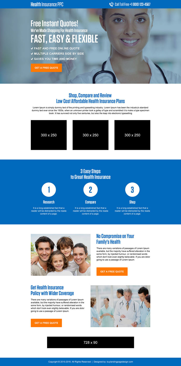 health insurance instant free quote lead generating landing page design
