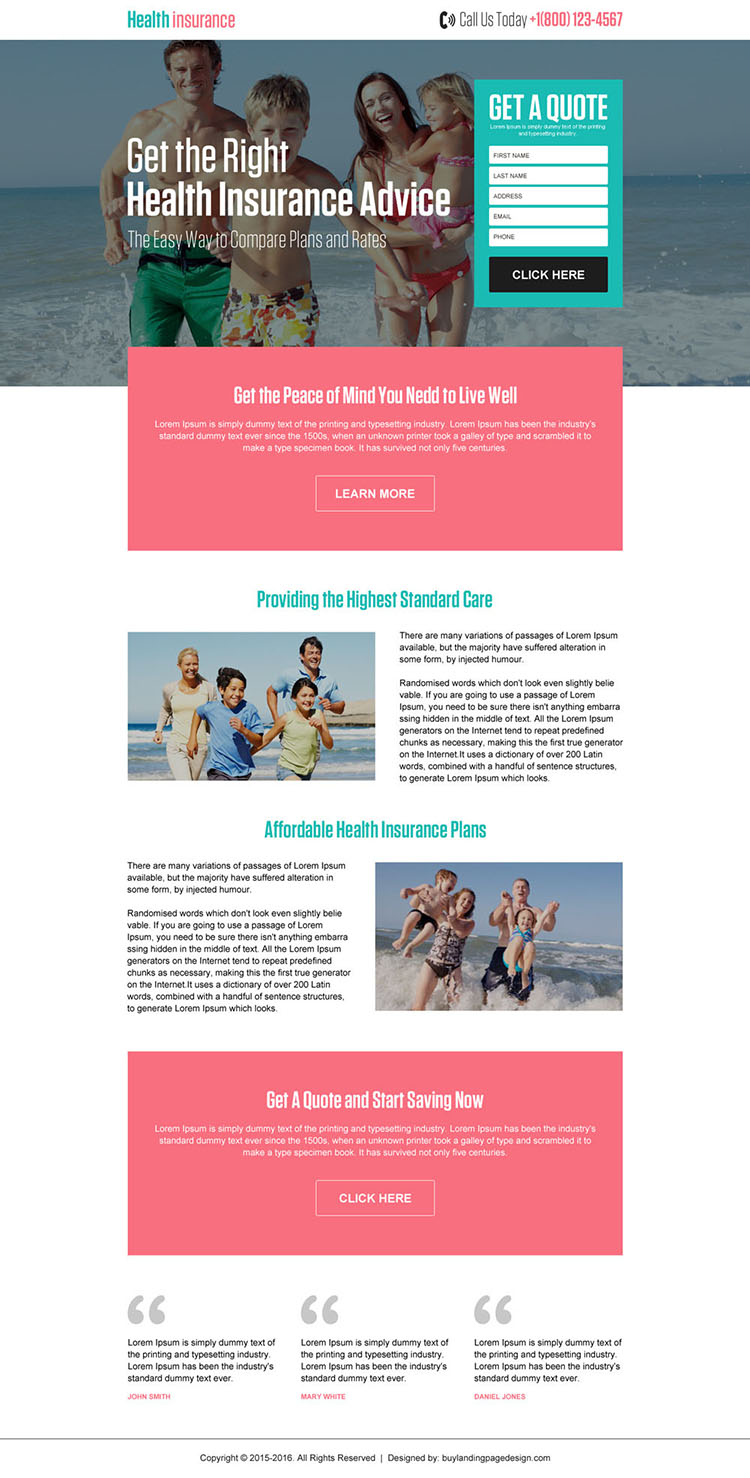 affordable health insurance plans free quote landing page