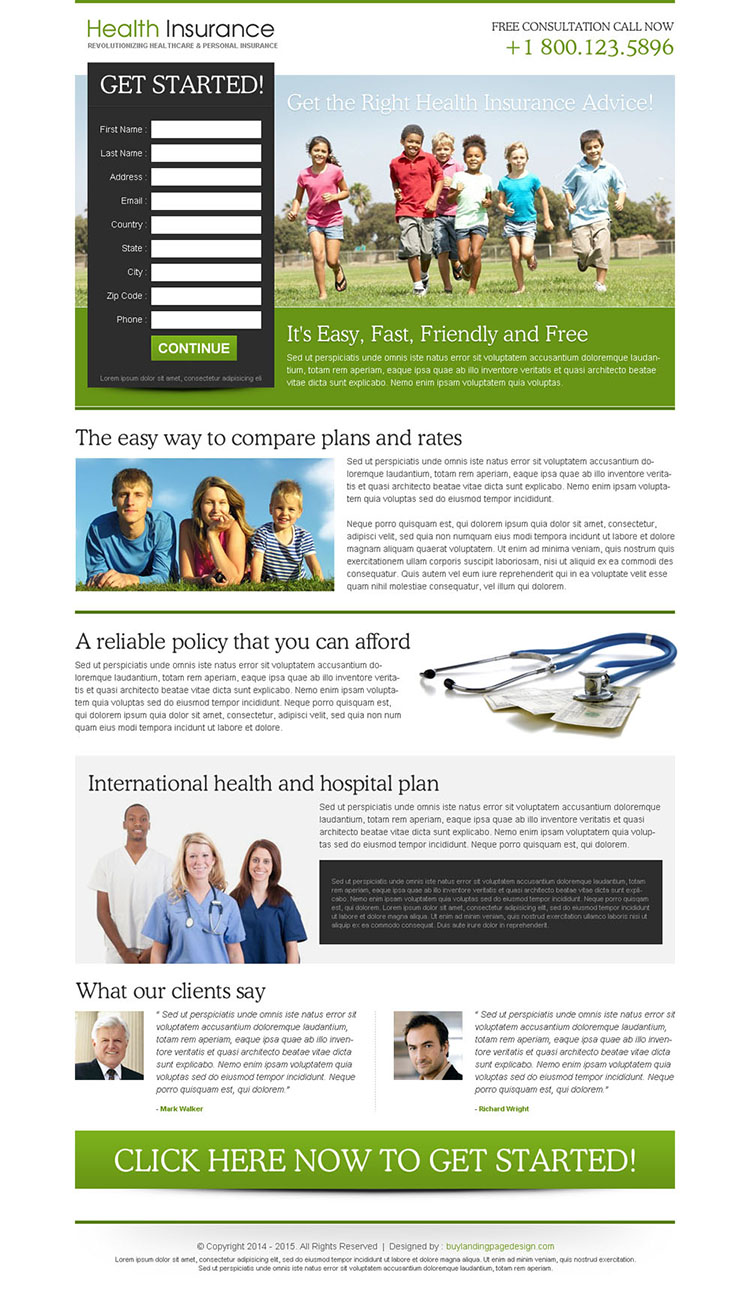 health insurance long lead capture effective squeeze page design