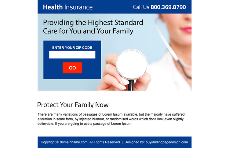 health insurance zip capturing ppv landing page