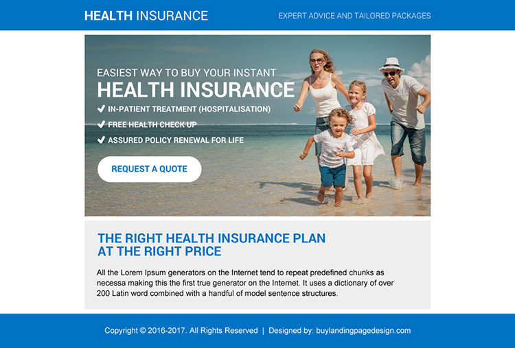 health insurance plan free quote ppv landing page design