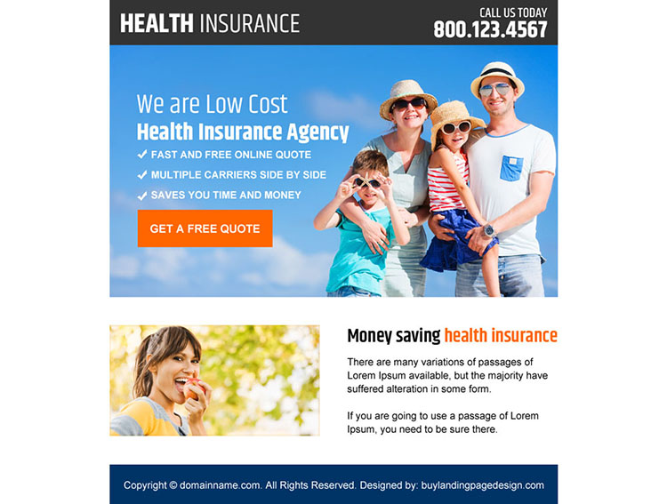 health insurance agency ppv landing page design