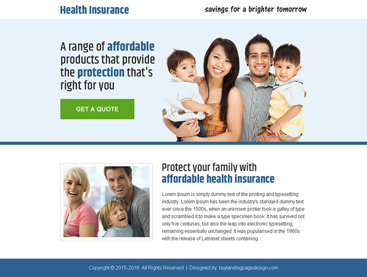 health insurance quality lead capturing ppv landing page