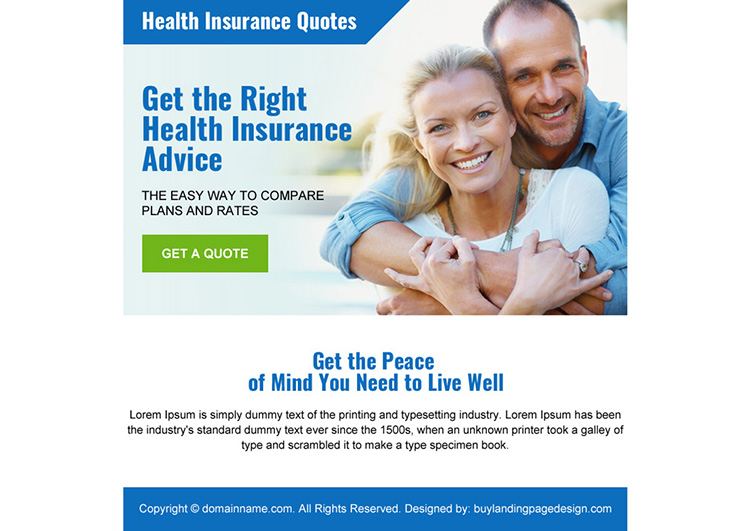 health insurance quotes ppv landing page design