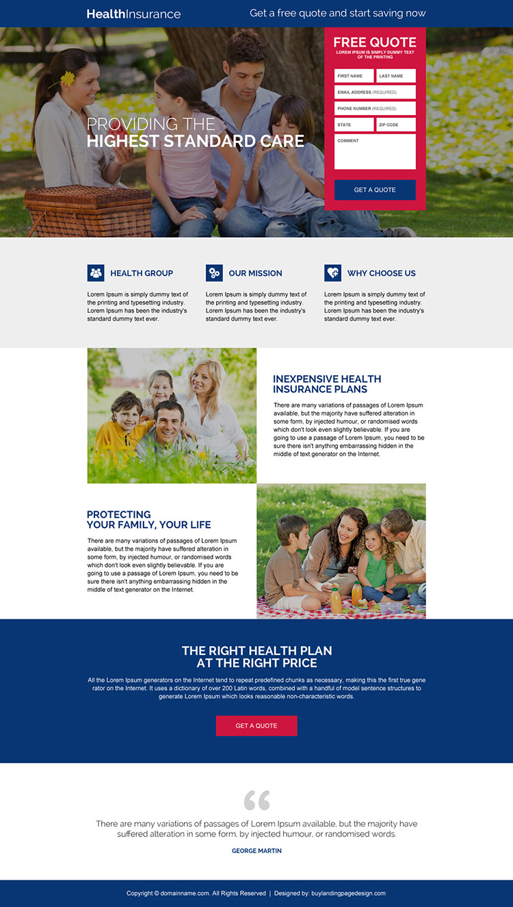 responsive health insurance free quote lead capturing landing page design