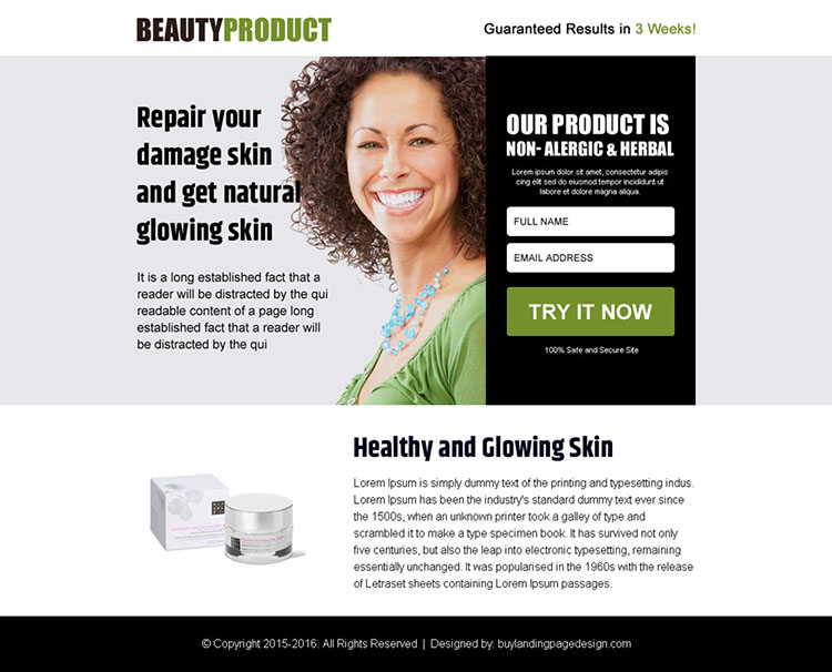beauty product free trial lead capturing ppv landing page design