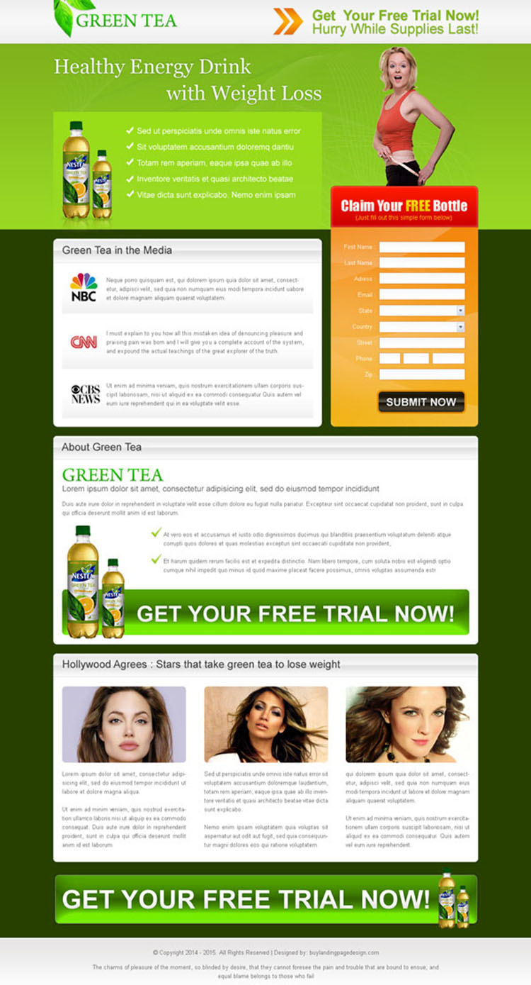 green tea healthy energy drink for weight loss landing page design for sale