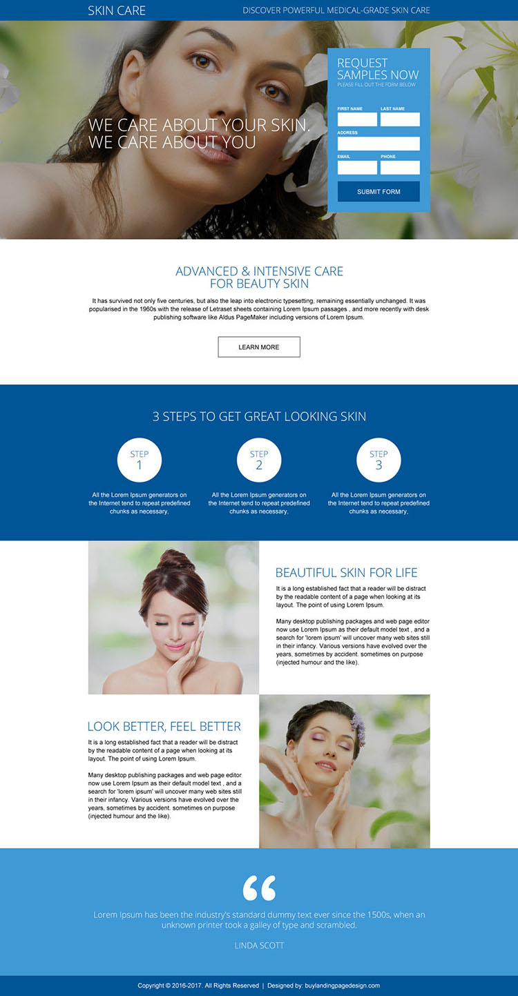 healthy skin care treatment landing page design