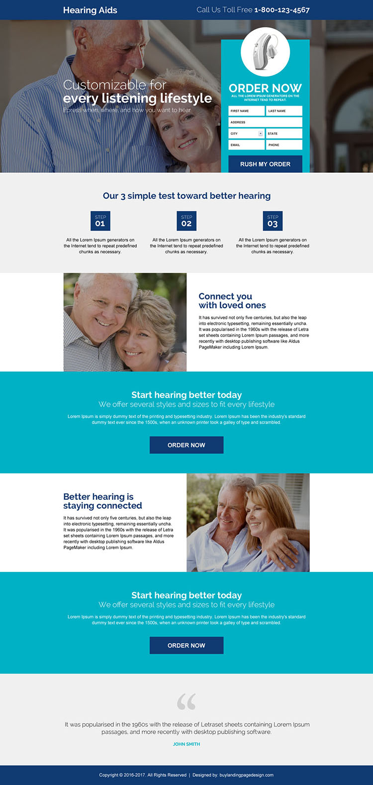 hearing aid device selling responsive landing page design