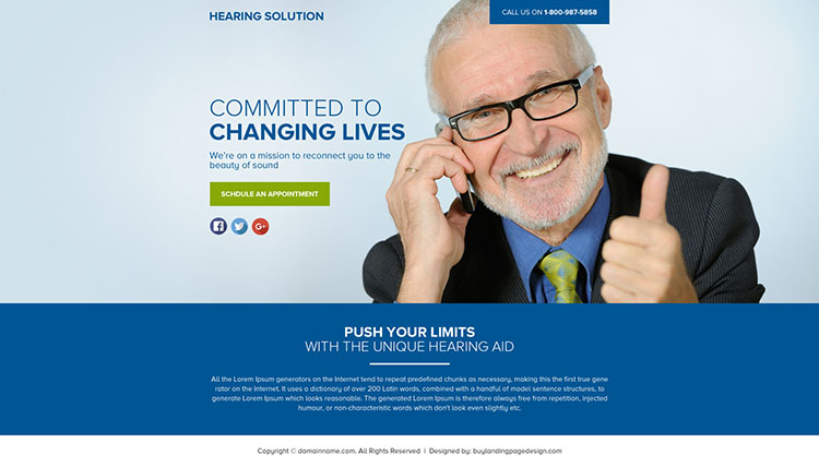 hearing solutions lead funnel landing page design