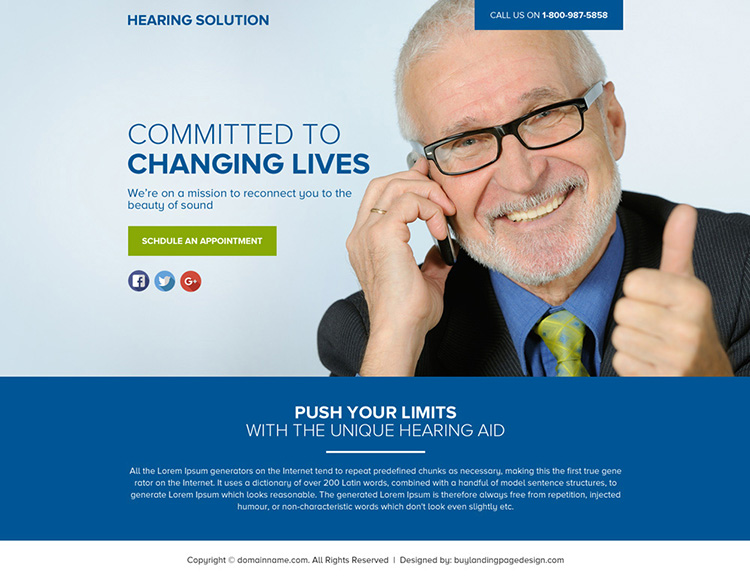 hearing solution lead funnel responsive landing page design