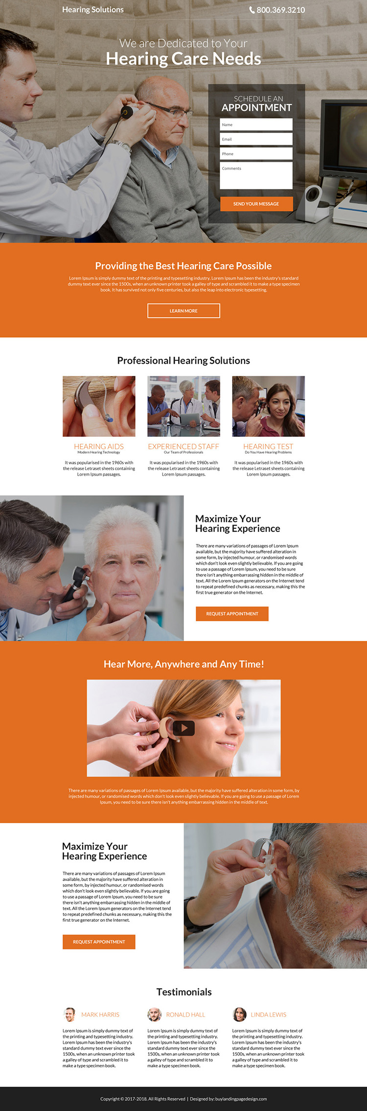 hearing solutions modern landing page design