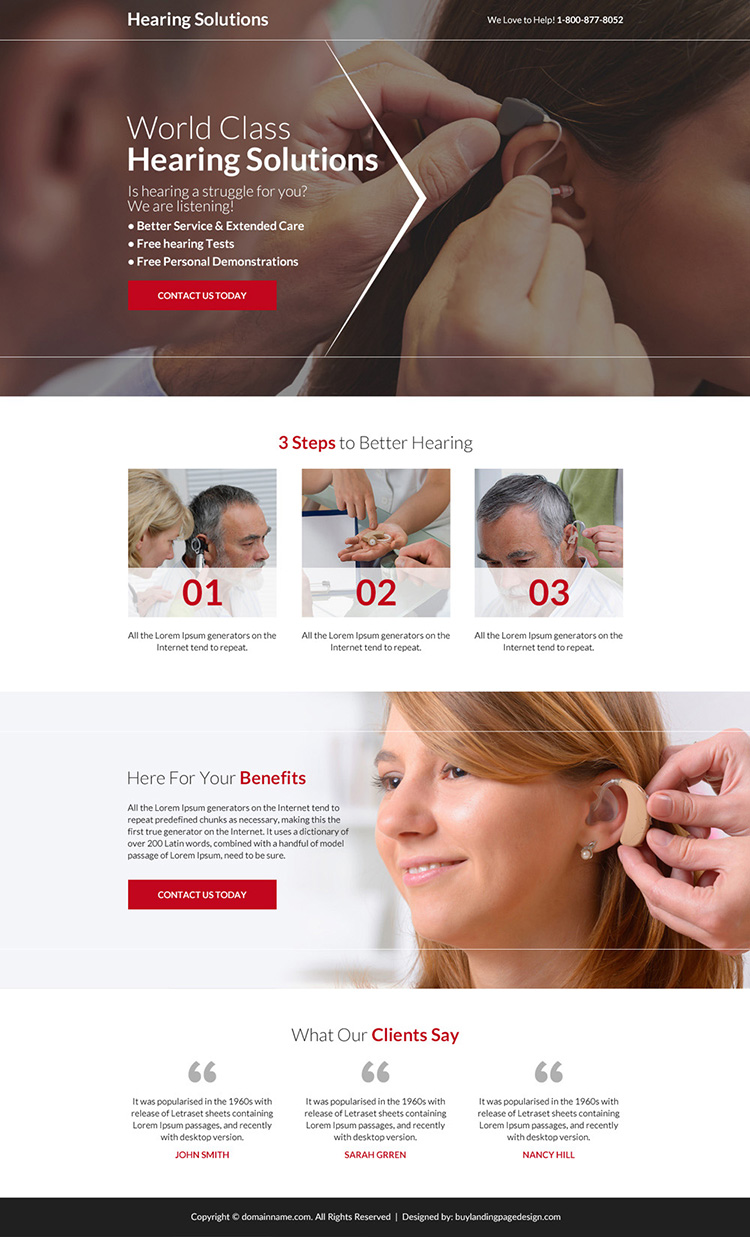 world class hearing solutions responsive landing page design