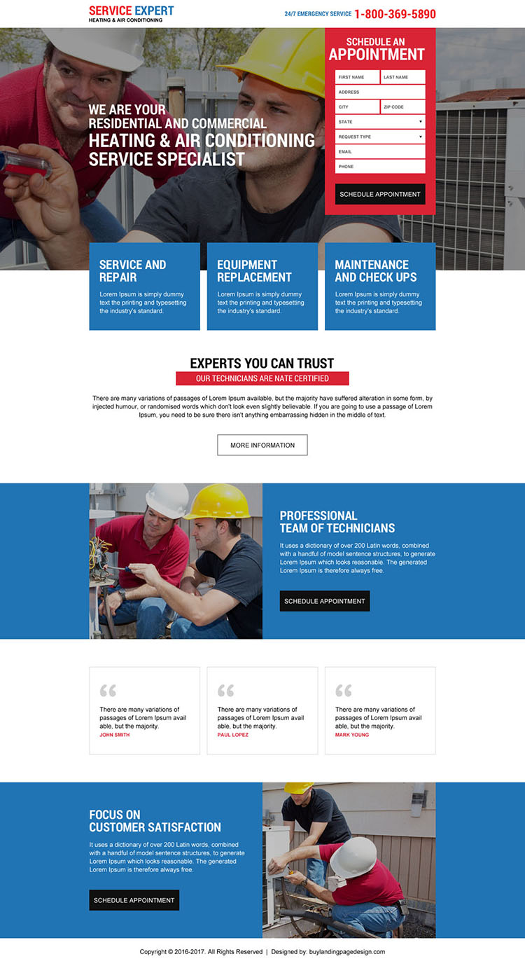 heating and air conditioning repair service responsive landing page design