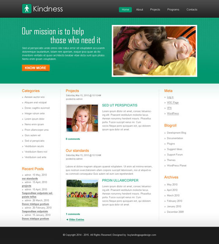 clean and modern help kids trust website template design psd