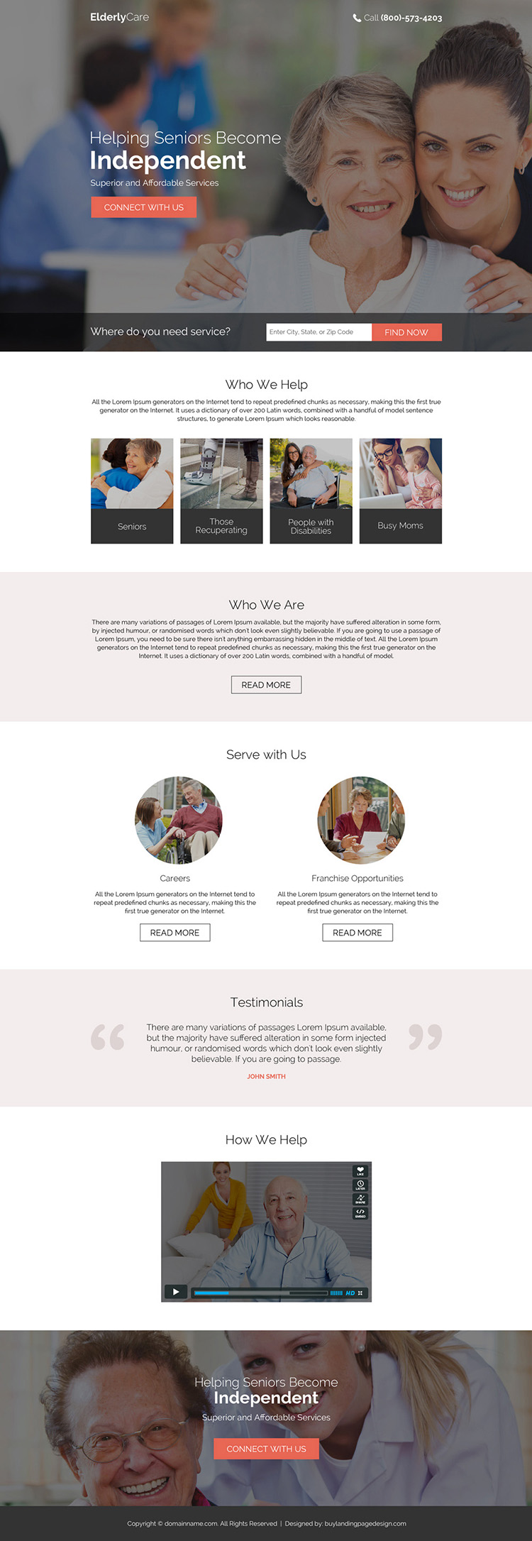 affordable elderly care service landing page design