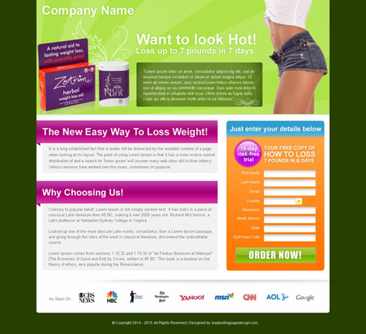 herbal weight loss oil landing page design for sale