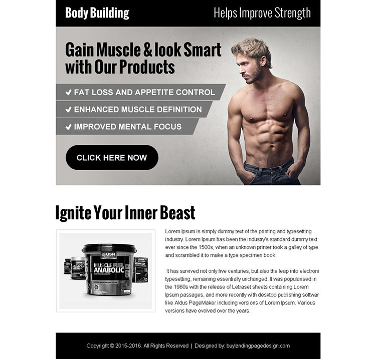 high converting body building ppv landing page design